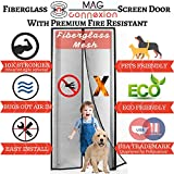 Advanced Fiberglass Magnetic Screen Door | Fit Doors up to 34 x 82 | 2017 Design by Mag-Connexion | Bug & Mosquito, Fire and Rip Proof, Kids & Pets Friendly, Black