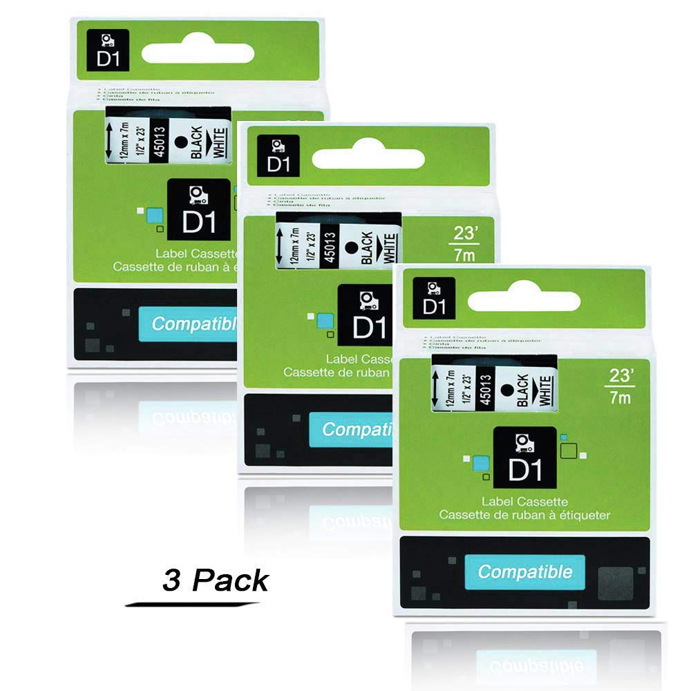 Standard Self-Adhesive Labelling Cassette Compatible with Dymo LabelManager 160 210D 260P 280 360D 420P PnP 1000 1000plus 2000 3500 4-Pack Replace DYMO D1 S0720530 45013 12mm Label Tape