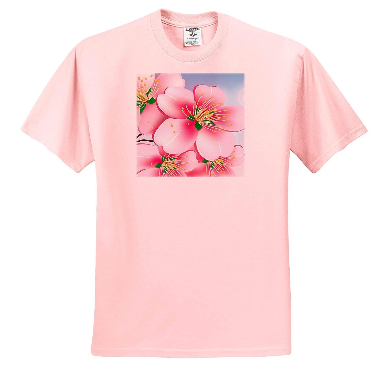 Close up of Pink Flower Beautiful Image on Blue Background T-Shirts 3dRose Sven Herkenrath Flower