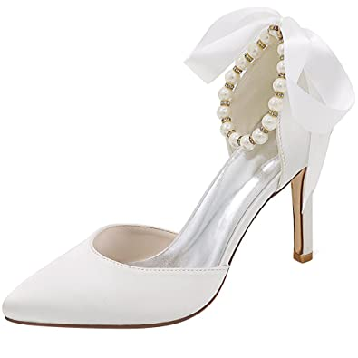 8abe112a89d Image Unavailable. Image not available for. Color  Loslandifen Women s  Pointed Toe Stiletto High Heels Pearls Strap Pumps Party Dress Wedding  Bridal Shoes(