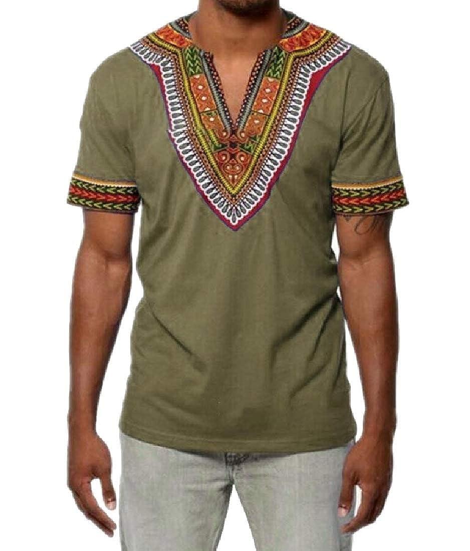 Xswsy XG Mens V-Neck Dashiki Shirts African Print Short-Sleeve Tops Fashion T-Shirt
