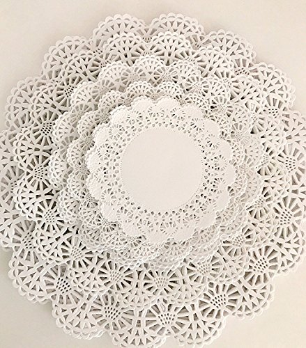 """150 Paper Lace Doilies Variety Pack 30 each of 4"""", 5"""", 6"""", 8"""