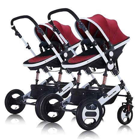 Guo@ Cochecito de bebé doble desmontable Cochecito de paseo doble puede sentarse y acostarse Alto