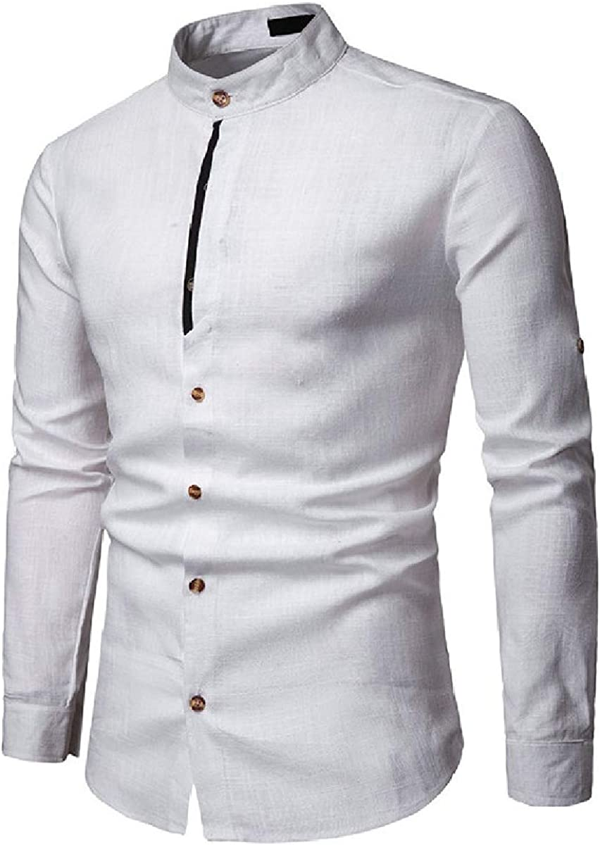 Losait Men Linen Mandarin Collar Button Down Pure Color Business Western Shirt
