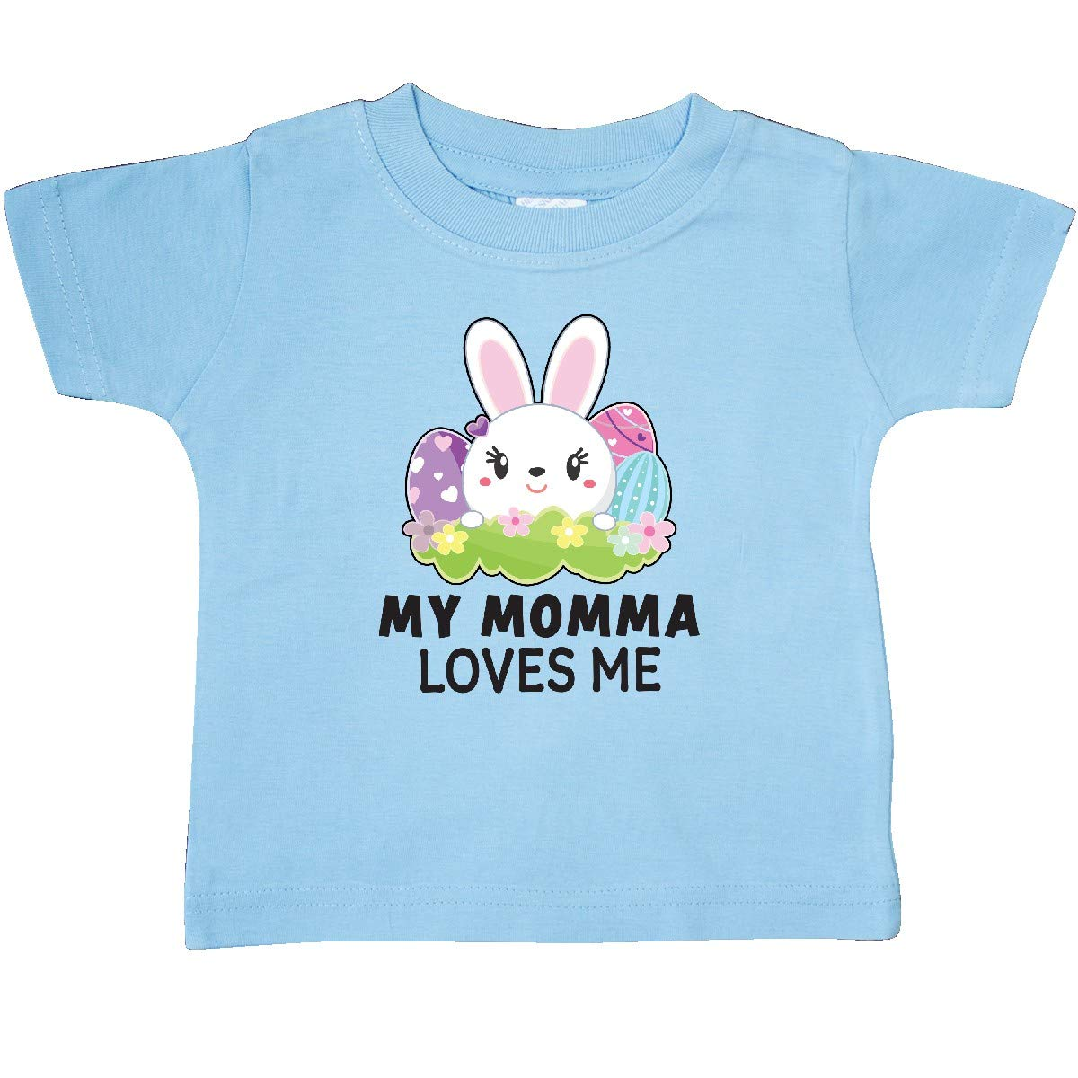 inktastic My Momma Loves Me with Bunny and Easter Eggs Baby T-Shirt