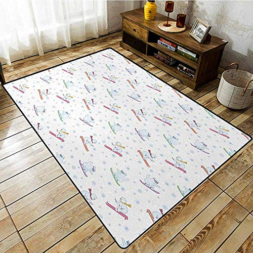 Bedroom Rug,Bear Funny Polar Teddy Bears on Snowboards Skiing with Scarf and Glasses Ornate Snowflakes,Anti-Slip Doormat Footpad Machine Washable,3'11