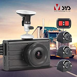 VSYSTO Vehicle Backup Dash Cam DVR 4 Channel X2V Pro 3'' Monitor 1080P+VGA+VGA+VGA Infrared Night Vision Waterproof Cameras for Semi Truck Trailer Car Vans G-Sensor Loop Recording No Blind Zone
