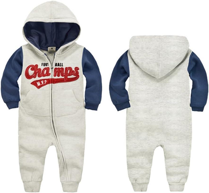 Vine con cerniera C-Red 66 // 1-6 Months in cotone tutina con cappuccio a maniche lunghe per neonato