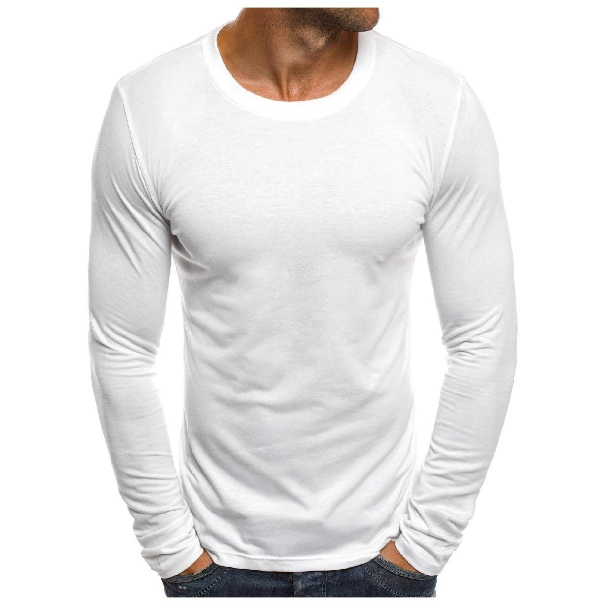 Mfasica Mens Scoop Neck Solid Colored Long Sleeve Slim Fit T-Shirt Top