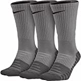 Nike Mens Dri-Fit Cushioned Crew Socks - 3 Pairs (Heather/Cl;oud Blakc/Grey, Large ( 8-12))