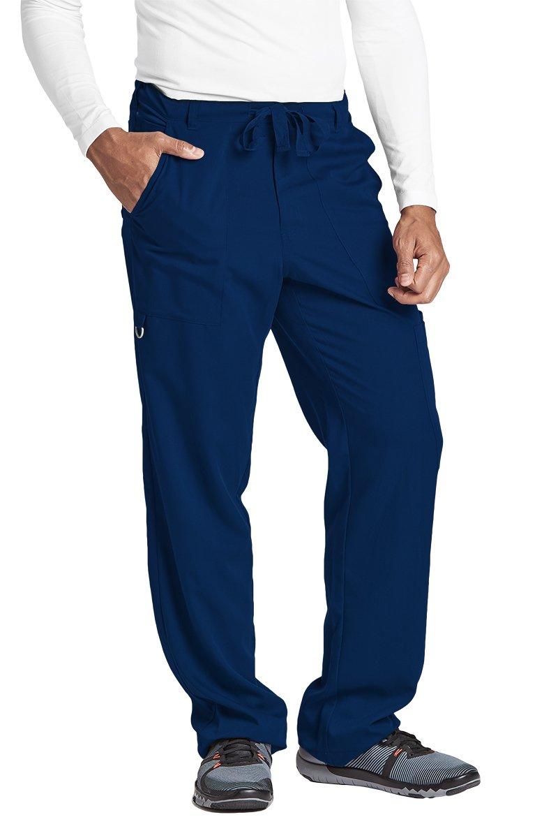 Grey's Anatomy Signature Men's Big 0203 6 Pocket Zip Fly Drawstring Scrub Pant, Indigo, Medium by Barco (Image #1)