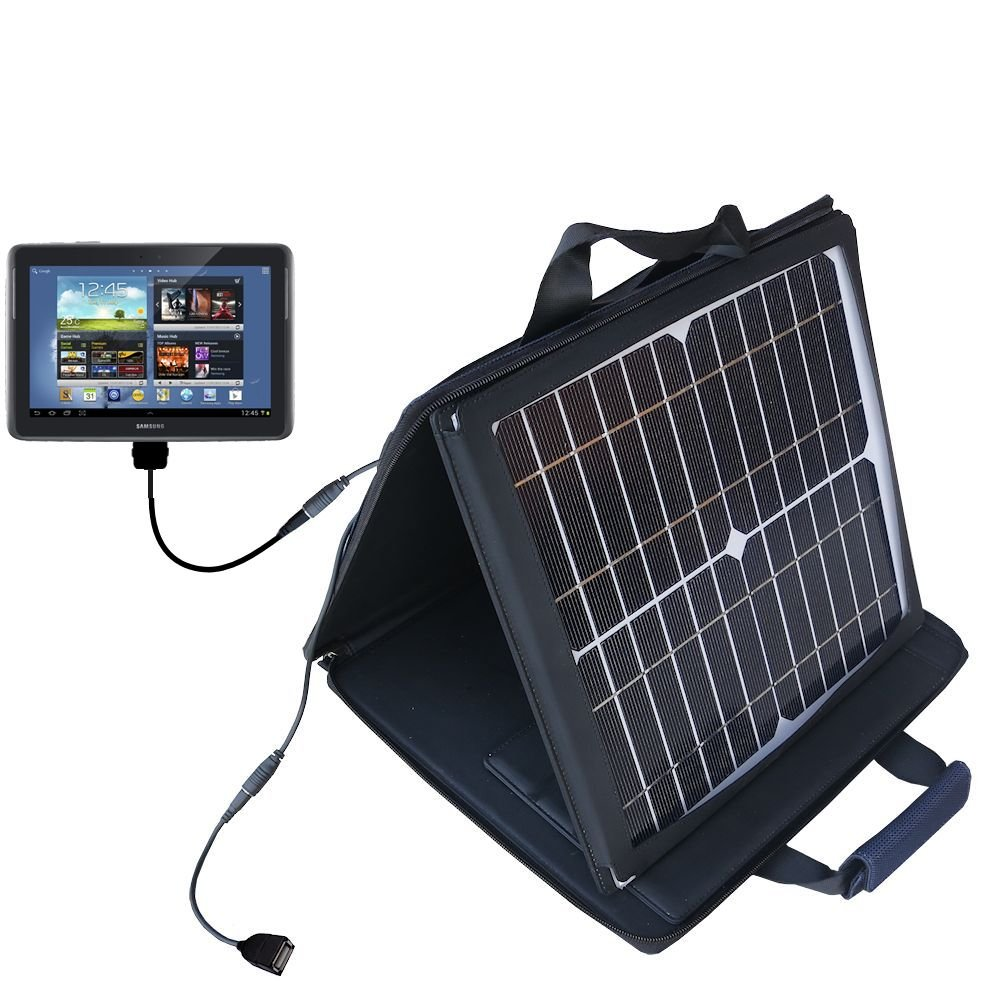 Gomadic SunVolt Powerful and Portable Solar Charger suitable for the Samsung Galaxy Note 10.1 Tablet - Incredible charge speeds for up to two devices by Gomadic