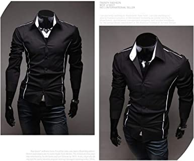 2019 Men S Luxury Stylish Casual Designer Edge Piping Long Sleeve Dress Shirt Muscle Fit Shirts 3 Color 5902 Black Asian Size M At Amazon Men S Clothing Store