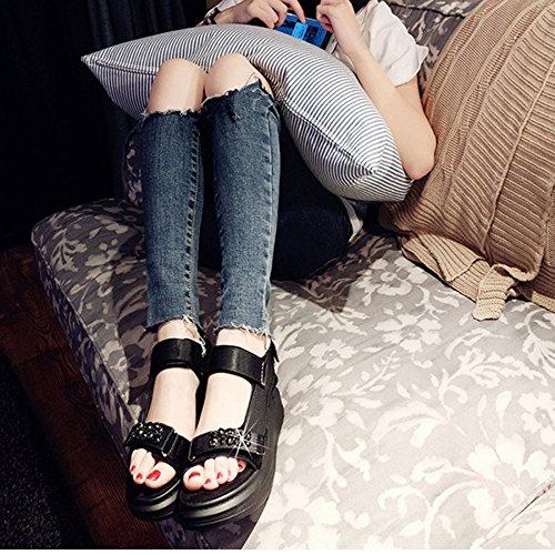 Rhinestone Sandalias De De Casuales Las Sandalias Verano De De Abierta Alta Actualización De Mujeres Vacaciones Black Tacón Sandalias Calidad Sandalias Bajo Zapatos Punta Plataforma De PAC8qtP
