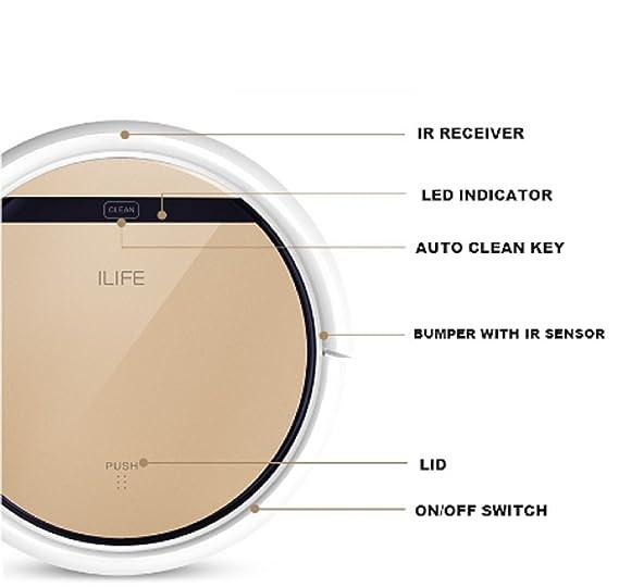 iLife V5 PRO cabezal de CHUWI inteligente robot aspirador para casa, tapa de color Dorado HEPA filtro, sensor, productos de limpieza: Amazon.es: Hogar