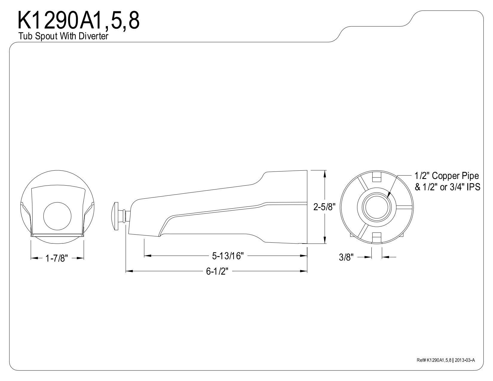 KINGSTON BRASS K1290A5 6-1/2-Inch Universal Diverter Tub Spout, Oil Rubbed Bronze