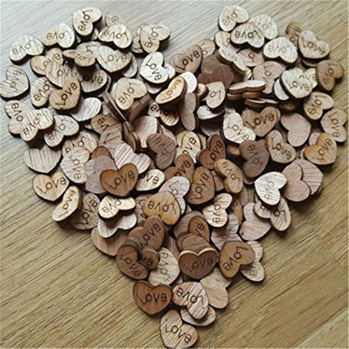 200pcs rustic wooden love heart wedding table scatter decoration crafts children 39 s diy confetti. Black Bedroom Furniture Sets. Home Design Ideas