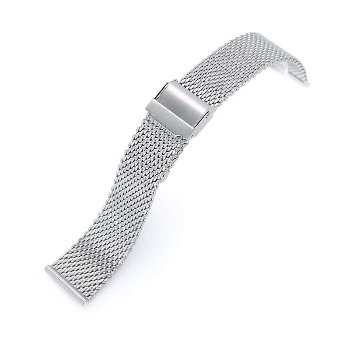 MiLTAT 20mm Classic Vintage Tapered Milanese Wire Mesh Band, Brushed