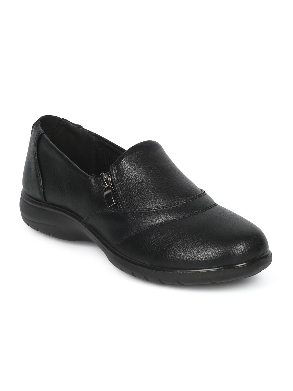 Alrisco Women Leatherette Round Toe Elevated Heel Work Loafer HD92 - Black Leatherette (Size: 7.0)