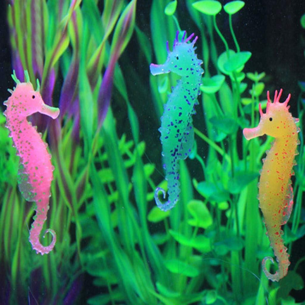 Wffo 2PC Aquarium Fish Tank Landscaping Decor Glowing Floating Effect Animal Sea Horse Ornament for Fish Tank (Orange)