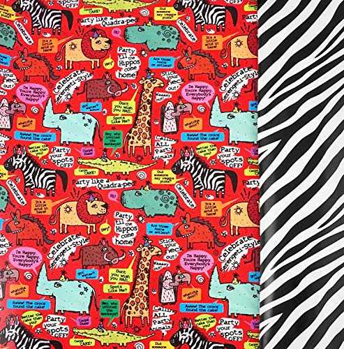 Zebra Party Animal Reversible Gift Wrap Roll - 24