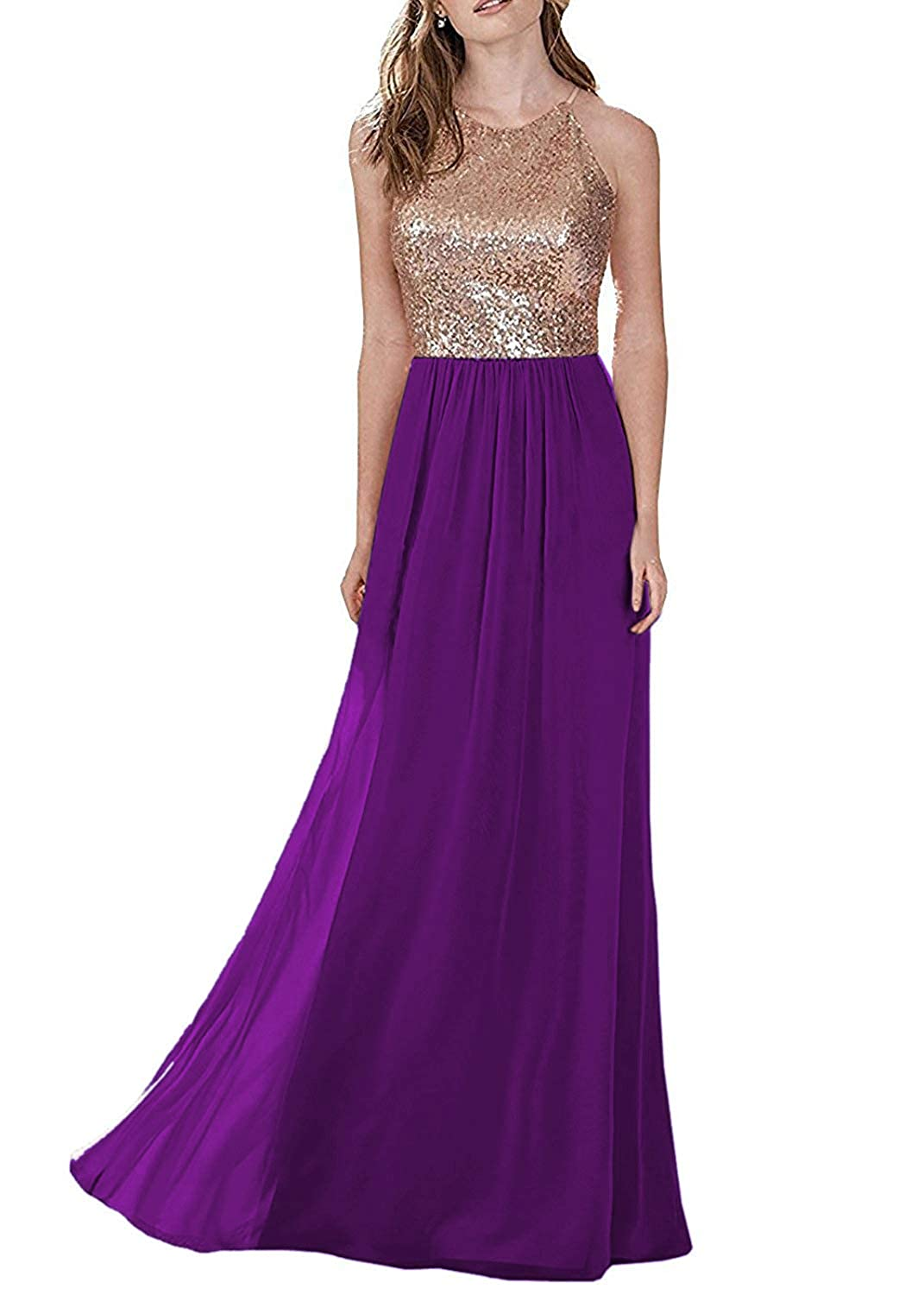 Purple LL Bridal Top Sequins pink gold Bridesmaid Dress Long Prom Party Dresses Evening