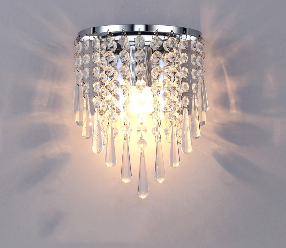 ALUS- European Luxury Crystal Bedroom Living Room Wall lamp Metal Light Body Crystal lampshade Wall lamp by Nice wall light (Image #1)