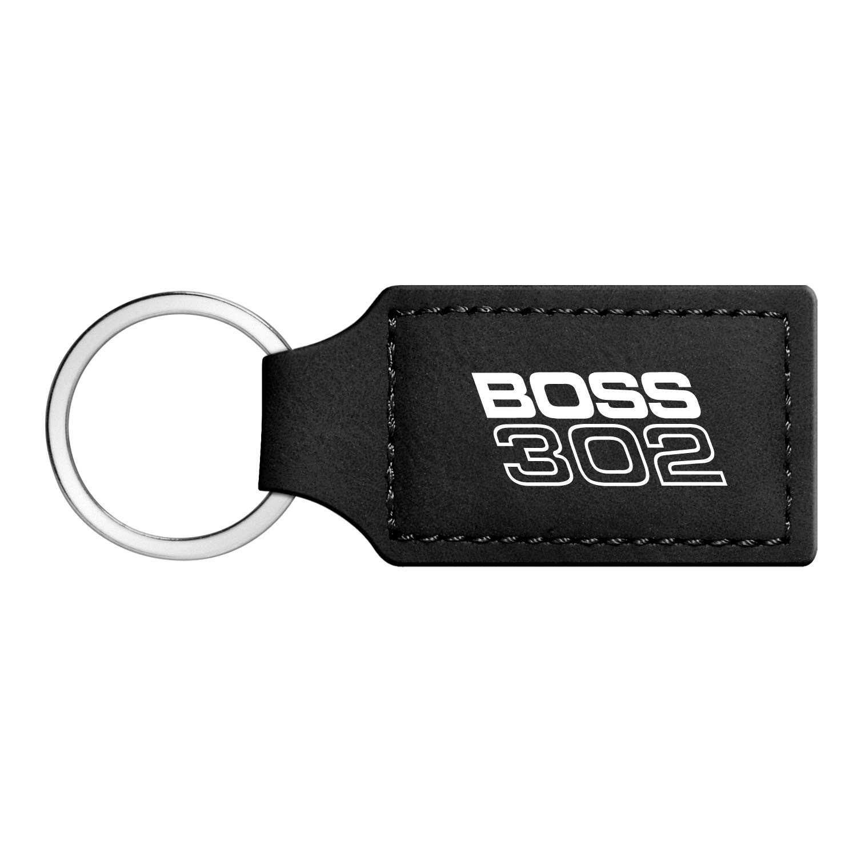 Ford Mustang Boss 302 Rectangular Black Leather Key Chain iPick Image