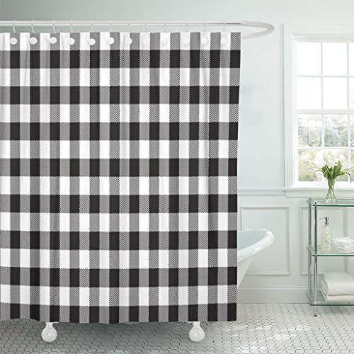 TOMPOP Shower Curtain Pattern Black White Checkerboard Check Chess Abstract Celtic Checked Waterproof Polyester Fabric 78 x 72 Inches Set with Hooks