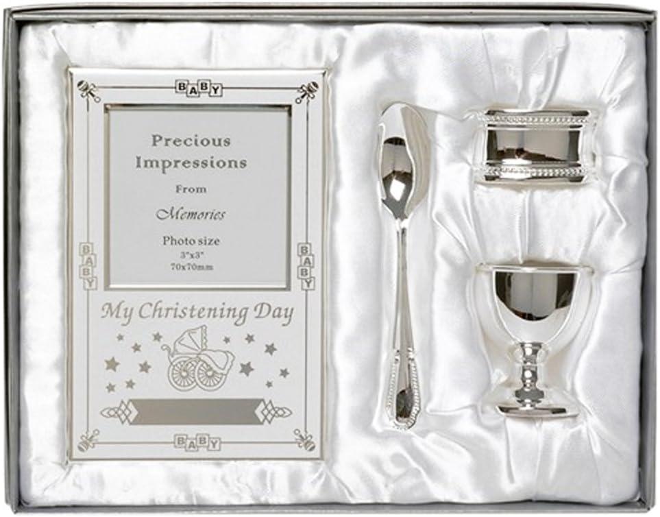 Hermoso juego de regalo chapado en plata para el día del bautizo, 4 piezas, incluye huevera, cuchara, marco para fotos de bebé, servilleta en caja de regalo