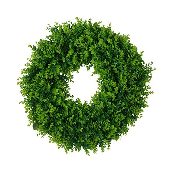 "U'Artlines 20"" Artificial Greenery Wreath Plants Spring Summer Backdrops Ornaments Garland Front Door Wreaths Display for Home/Wall/Christmas/Party/Festival Decor (20″, Pattern 1)"