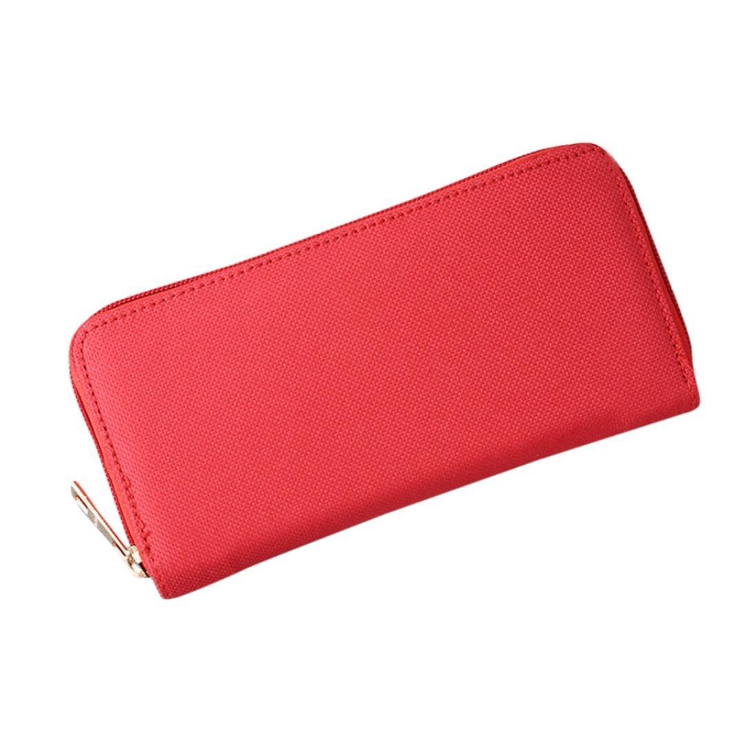 Fashion Women Oxford Road Wallet Coin Bag Purse Phone Bag, LLguz Women Lightweight Fashionable Long Zipper Clutch Wallet (Red)