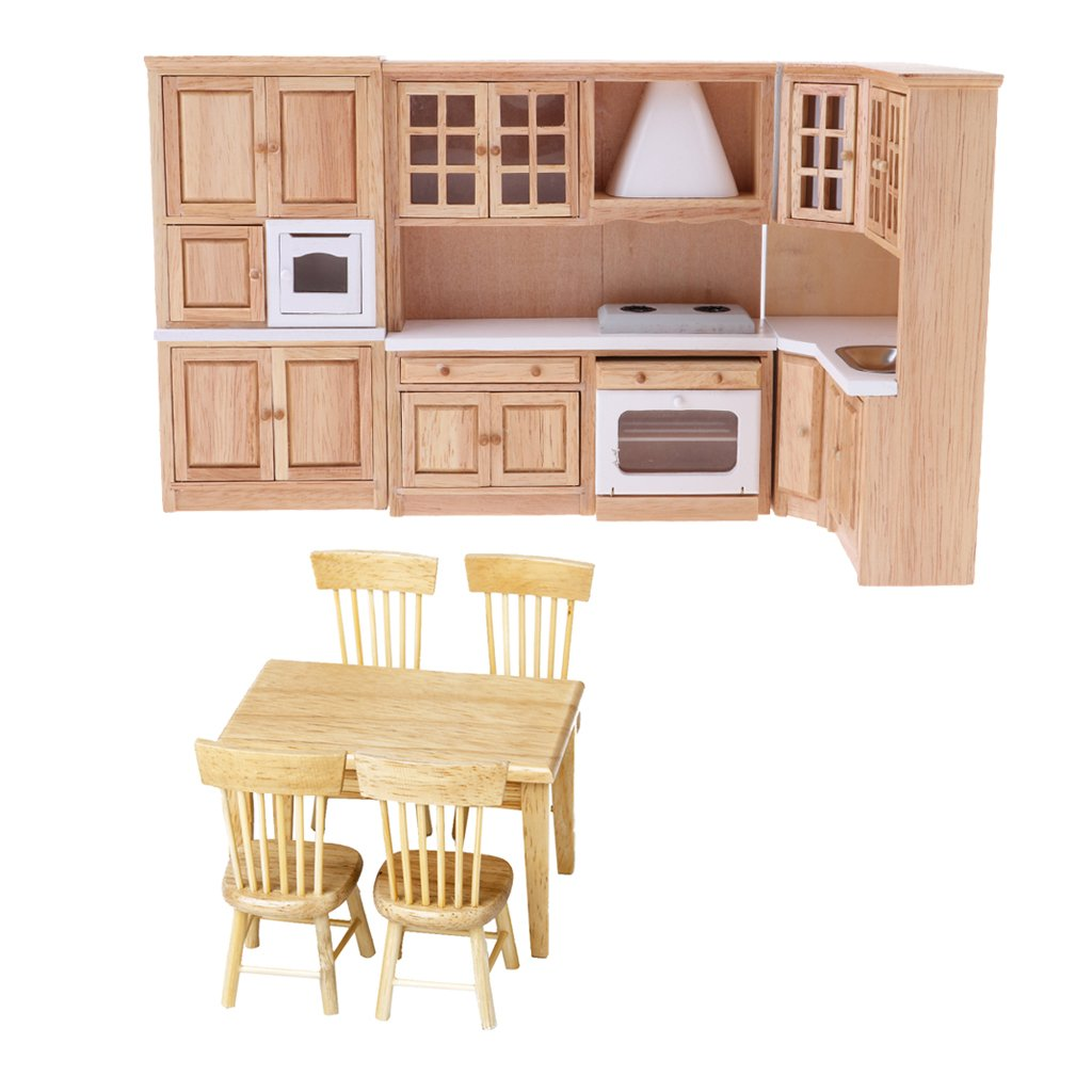 exclusivo KESOTO 1/12 Dollhouse Muebles Miniatura Mueble de Madera Madera Madera Mesa Modelo de Silla Juguetes Muñecas  Disfruta de un 50% de descuento.