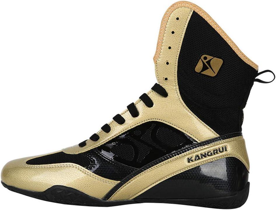 AIALTS La Lucha De Boxeo Zapatos De Los Hombres De Bota Antideslizante Amortiguaci/ón Zapatillas De Deporte De Lucha Libre,Oro,38