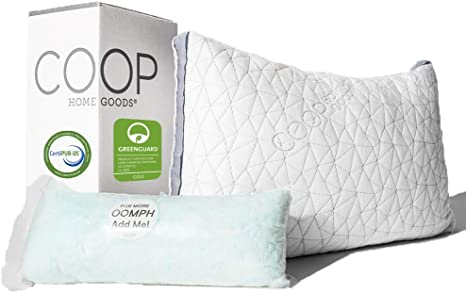 coop home goods eden shredded memory foam pillow with cooling zippered cover and adjustable hypoallergenic gel infused memory foam fill queen