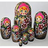 Matriochka matrioshka poupées russes chiffon fleurs artisanat russe en bois 7pc