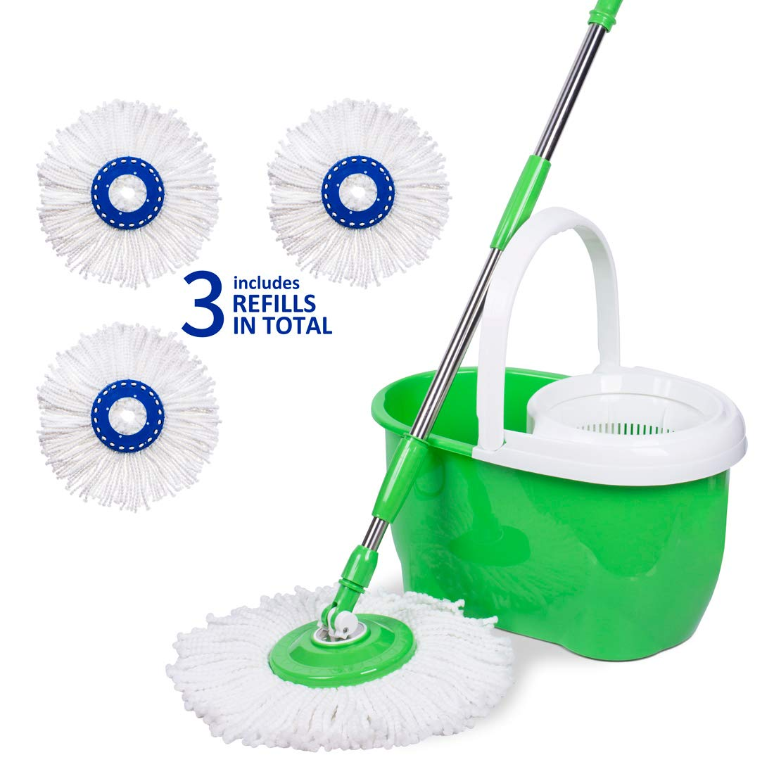 Spin Mop Bucket with Wringer Set, Hand-Free Washing & Drying, 360° Spinning Mop Head for Easy Floor Cleaning, Thickened Sturdy Stable Bucket with Carry Handle, 3 Replacement Mop Heads Included, Green