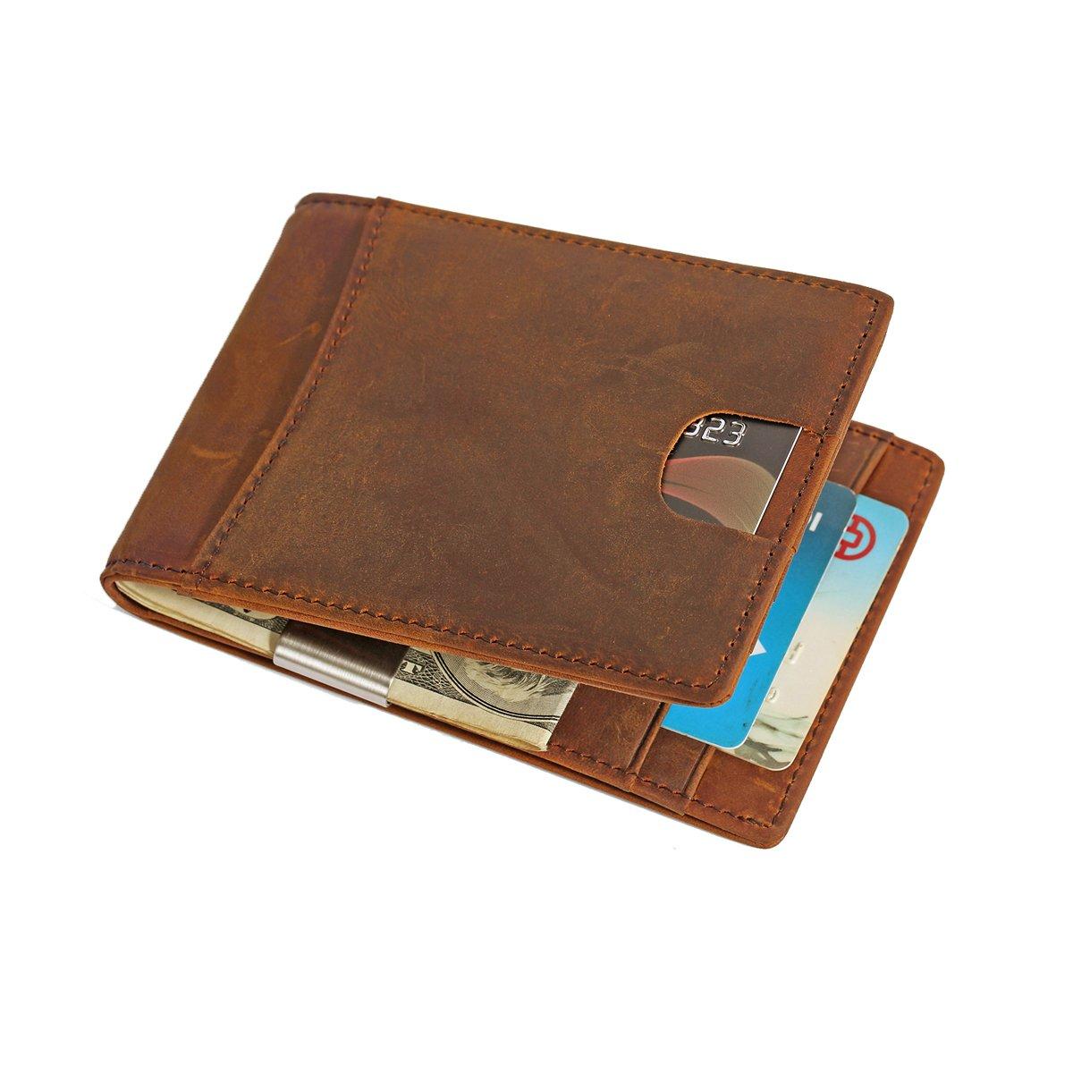 RFID Blocage Portefeuille Homme Cuir, Mince Porte-Monnaie avec Clip en Métal, Porte-Carte de Crédit Sécurisé, Porte-cartes pour Hommes (Black)