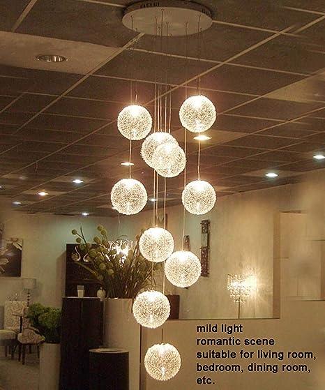 10 Luces escalera colgante de la luz pendiente moderna minimalista larga escalera lámpara del dormitorio Bola