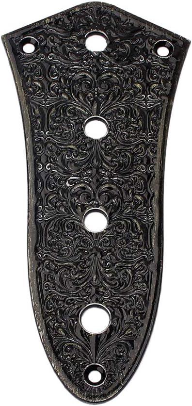 Healifty GE101E - Placa de control de bajos para guitarra de jazz (4 orificios, aleación de cinc), color negro