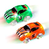 Mini Tudou Magic Tracks Cars 2 Pack, Replacement Light Up Racing Track Car with 3 LED Lights Glow in Dark Compatible with Most Tracks for Boys and Girls(Green,Orange)