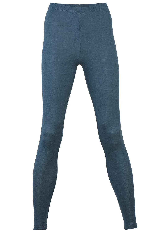 EcoAble Apparel Women's Thermal Leggings Pants Base Layer, Organic Merino Wool Silk Blend (46-48 / Large, Atlantic)