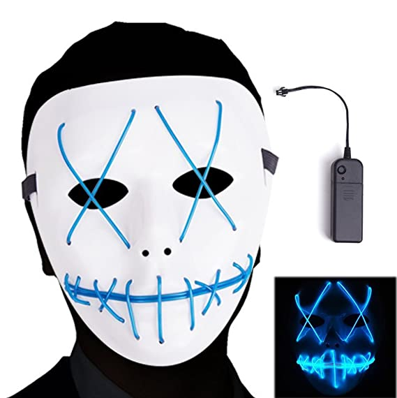 Ansee Scary Mask Halloween Cosplay Led Costume El Wire Light up for ...