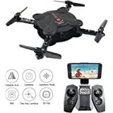 Drone RC Quadcopter with FPV Camera Live Video - 2 Batteries - Flexible Foldable Aerofoils - App WiFi Phone Control - Altitude Hold 3D Flips & Rolls- 6-Axis Gyro Gravity Sensor RTF Helicopter