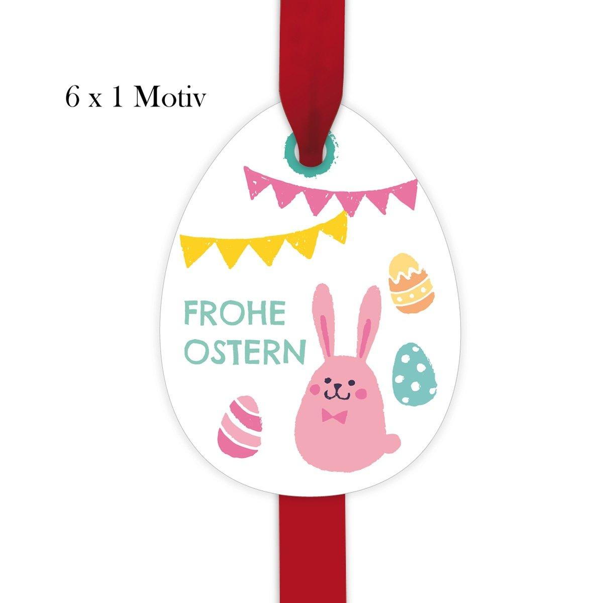 Kartenkaufrausch 60 süße Oster Geschenkanhänger | Deko Geschenkkarten Geschenkkarten Geschenkkarten | Papieranhänger | Etiketten in Osterei Form 10 x 7,5cm mit Osterhäschen: frohe Ostern bdba4c