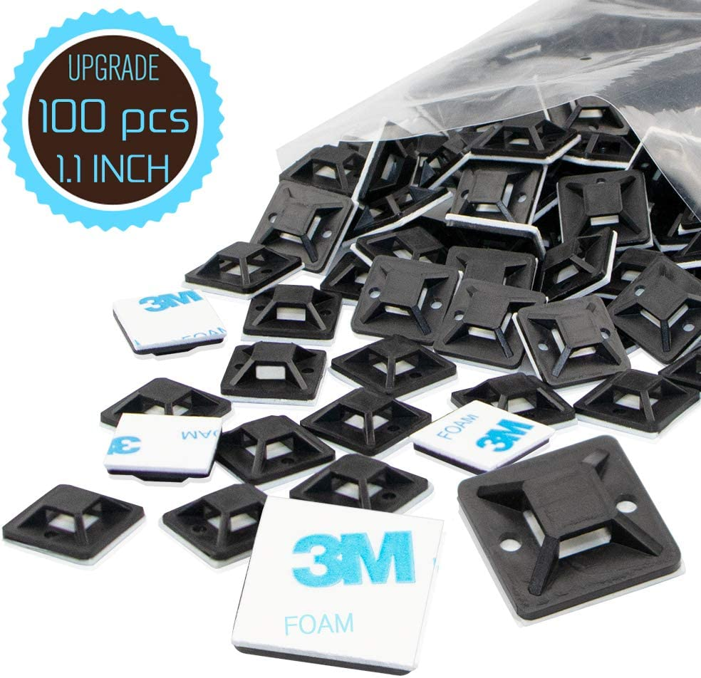 Cable Tie Mount 1.1 Inch 28mm Black Large Squares Adhesive Mounting, 100 Pieces.perfect for Wire Clips Cable Management Zip Tie Anchors,Durability Pro-grade UV Wire Holder