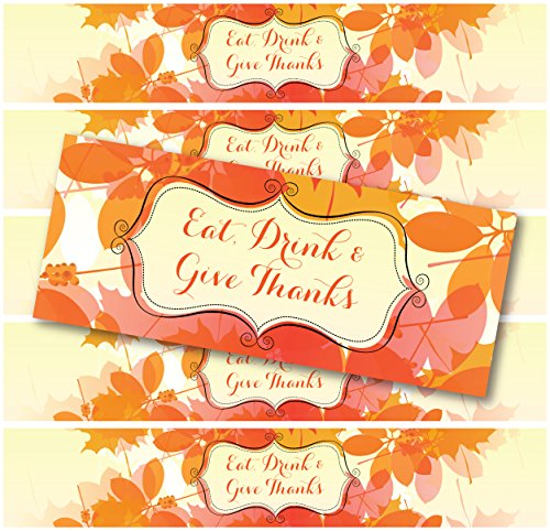 24 WATERPROOF Holiday Bottle Labels: Halloween, Thanksgiving, Christmas (Eat Drink & Give Thanks: (Halloween Bottle Labels Print)