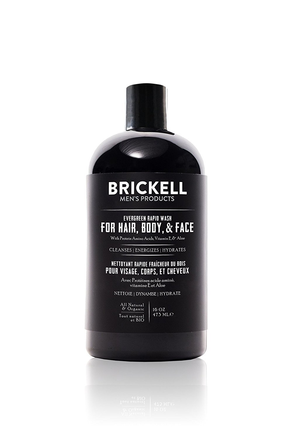 Brickell Men's Rapid Wash, Natural and Organic 3 in 1 Body Wash Gel for Men, 16 Ounce, Evergreen Scent
