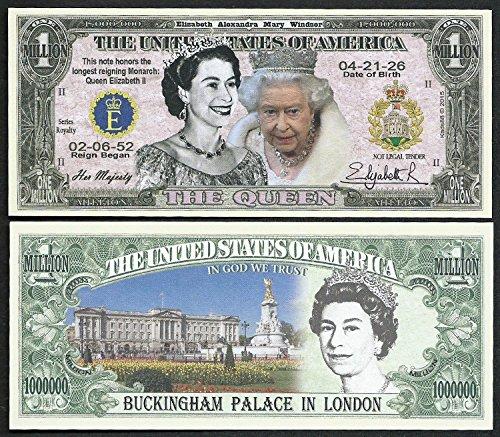 Queen Elizabeth II Commemorative Million Dollar Bill - Lot of 2 BILLS