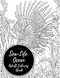 Sea Life Ocean Adult Coloring Book Large Stress Relieving Relaxing For